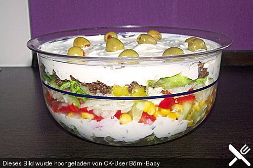 Uschis griechischer Schichtsalat, ein beliebtes Rezept aus der Kategorie Fleisch & Wurst. Bewertungen: 91. Durchschnitt: Ø 4,5.
