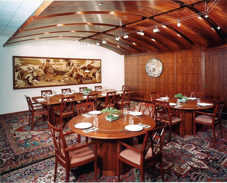Dining Room in Mahogany Quarter Broken Stripe, Mahogany Crotch on curved ceiling and Amboyna Burl on table #mahogany #mahoganycrotch #amboyna #amboynaburl #veneer #woodveneer #bohlke #brokenstripeveneer