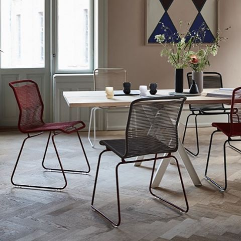 The Verner Panton One chair originally designed in 1955, still looking as fresh today as it did then. Helped by the 15 cord colours. 4 frame colours and 5 sizes! For outdoors or indoors.
