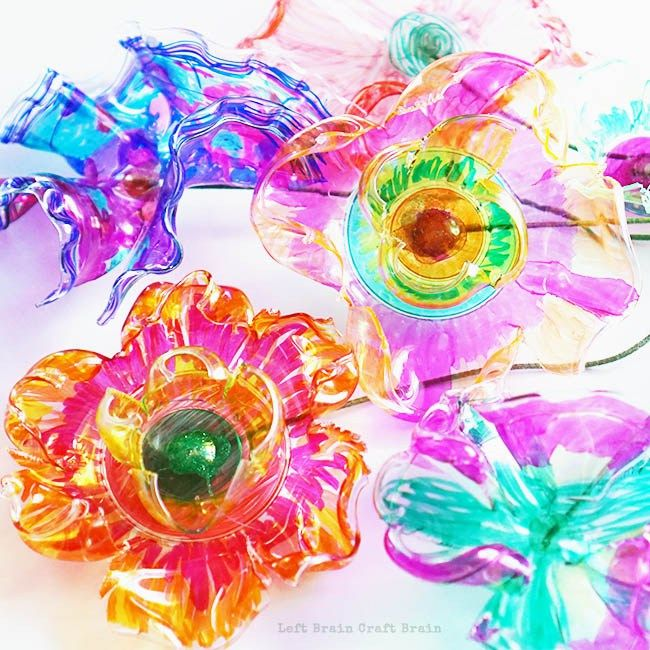 Recycled Plastic Flowers Art and Science Project - Left Brain Craft Brain