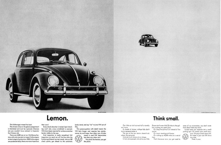 VW Lemon and Think Small ads