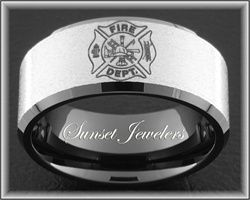 Firefighter Black Tungsten Fireman Maltese Cross Wedding Ring with FREE Inside Engraving!  Perfect Christmas Gift for your Super Hero! Sizes: 5, 5.5, 6, 6.5, 7, 7.5, 8, 8.5, 9, 9.5, 10, 10.5, 11, 11.5, 12, 12.5, 13, 13.5, 14, 14.5, 15  www.sunsetjewelers.com