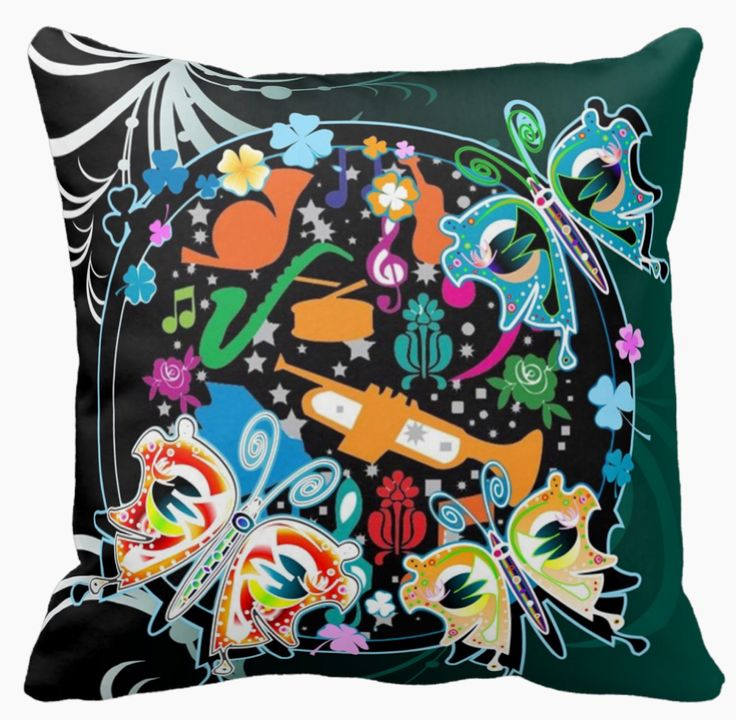 The image on this throw pillow reflects how I feel when I look at it -  it's fun, lively, colourful. I'd like my friends to notice it and murmur something nice. I can almost hear the smooth jazz coming out of those instruments! And the butterflies are hanging around to join in the fun.