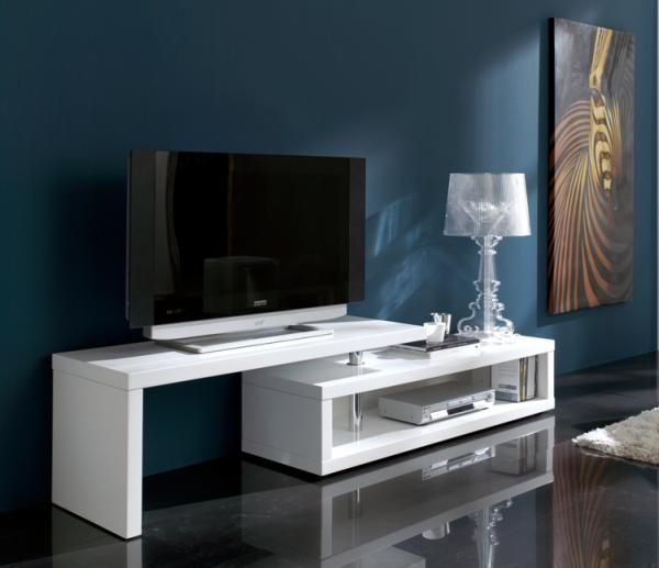 Blanco, Modern Extendable TV Unit in White High Gloss