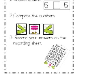 Here's a math work station on comparing numbers. This 21 page set includes  a set for numbers 1-10, a set for numbers 11-20, an I Can chart and student recording sheets.