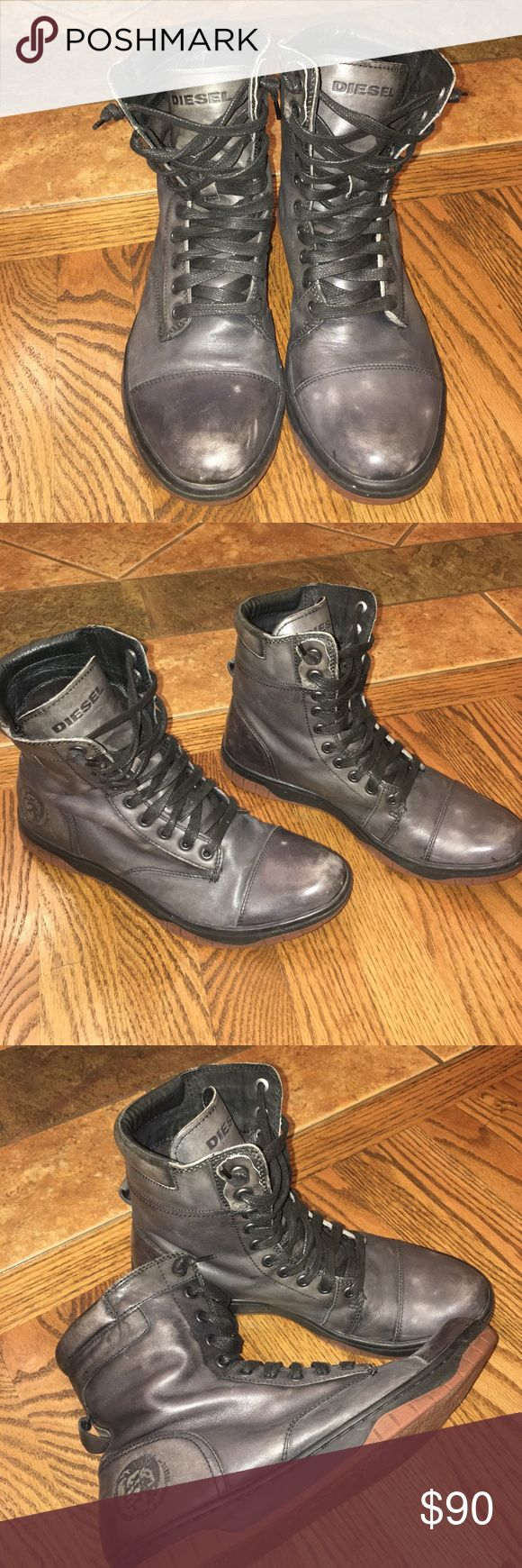 MENS Diesel boots! Selling like new men's Diesel boots! Size 9.5 these boots where worn once! There a darker gray color. Comes from smoke free and pet free home! Diesel Shoes Boots