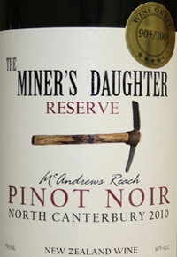 MCANDREWS REACH 2010 The Miner's Daughter Reserve North Canterbury Pinot Noir