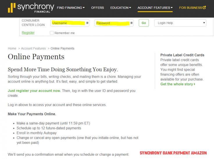 amazon synchrony bank make payment