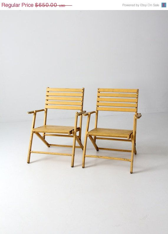 FREE SHIP vintage slat wood folding chairs pair / yellow by 86home, $552.50