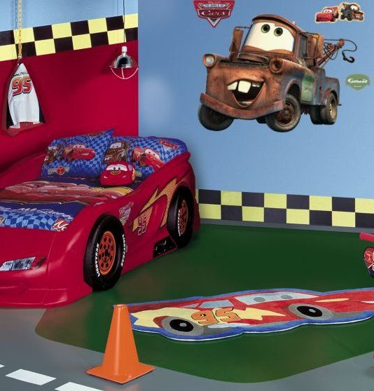 Boy car themed room tow mater disney cars giant wall for Boy car bedroom ideas