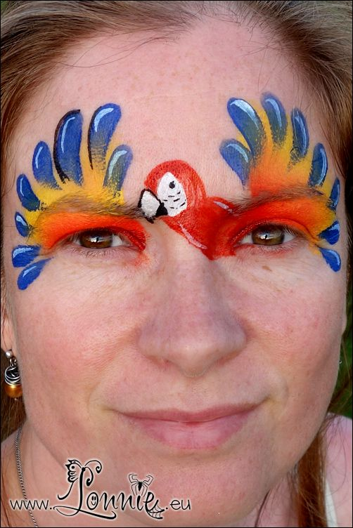 Lonnies Ansigtsmaling Papegøje Face paint parrot #FacePaint #ansigtsmaling #papegøje