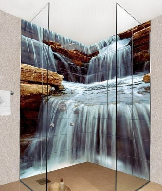 Imagine your morning shower with a cascading waterfall as your backdrop...heaven! Source: Okhyo tiles, decor-decor.net