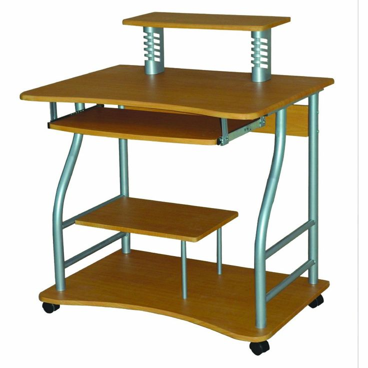 Home Source Industries AMT-710 LW Computer Cart on Casters, Light Walnut. Light walnut portable computer desk. Pull out keyboard and shelves for computer accessories and documents. Easy to assemble for home or office.