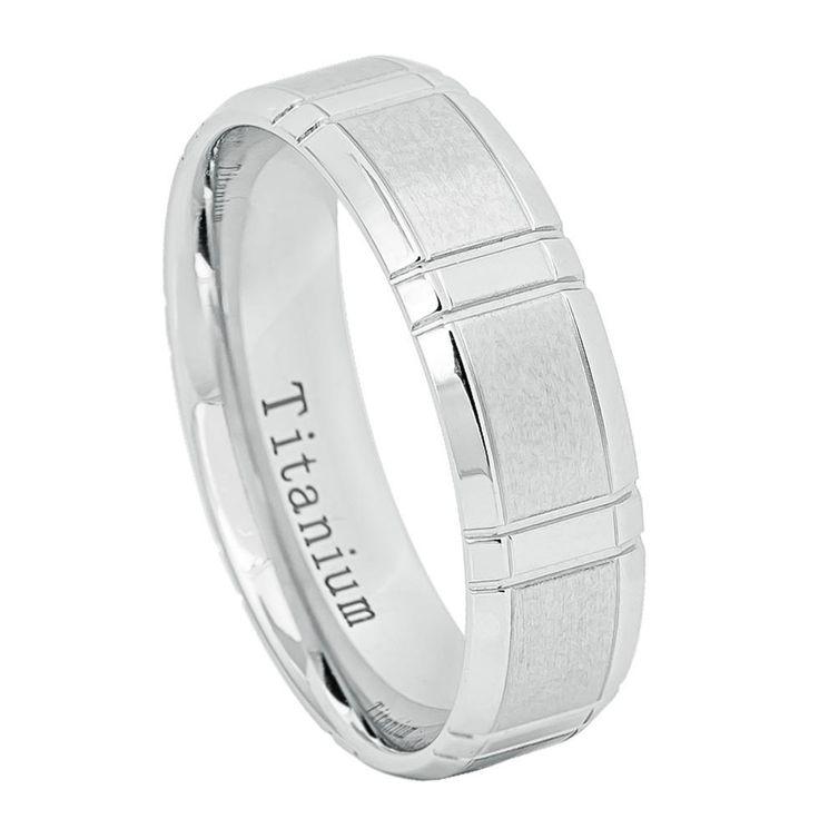 6mm White IP Titanium Ring Brushed Center High Polished Beveled Edge