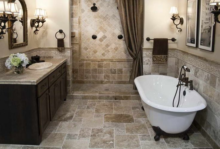 Simple Bathroom Tile Designs for Small Bathrooms With Brown Drapery