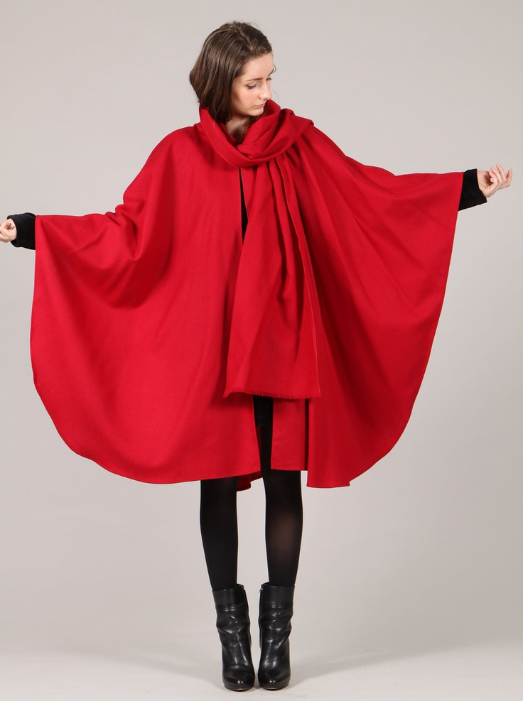 Red Wool Cape Coat