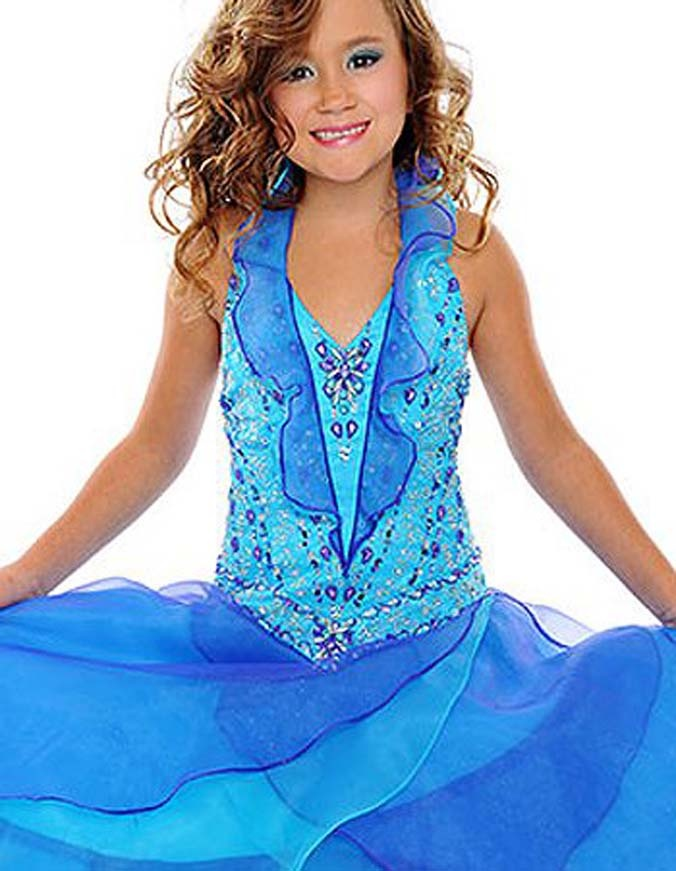 Fashionable Beautiful Blue Organza Halter Girls Pageant Dress Widespread