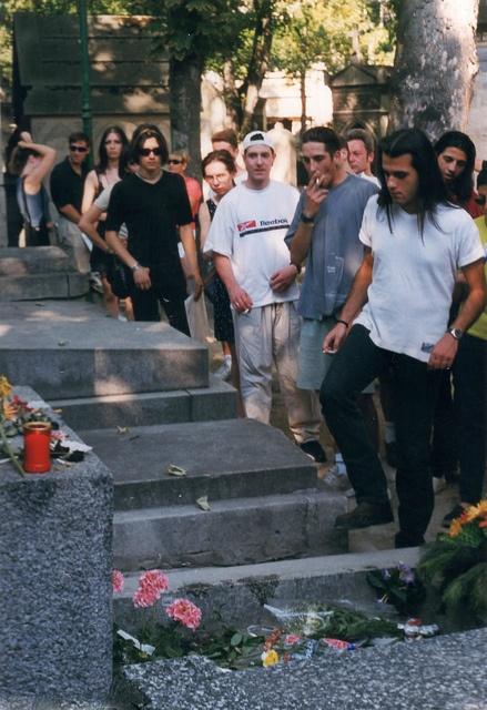 Père Lachaise Cemetery  Visitors at Jim Morrison's grave in Paris
