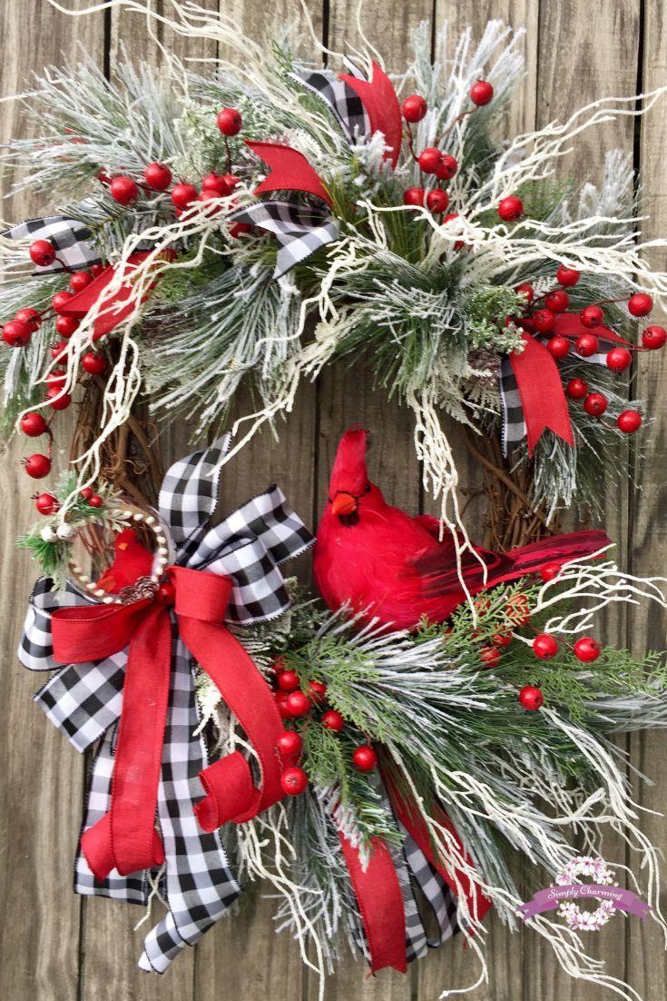 Cardinal Christmas Wreath Winter Wreath Christmas Wreaths Wreath Made By Simply Charming Christmas Wreaths Diy Artificial Christmas Wreaths Christmas Wreaths
