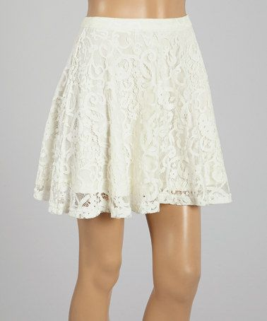 Cream Lace Skirt by L'Atiste #zulily #zulilyfinds