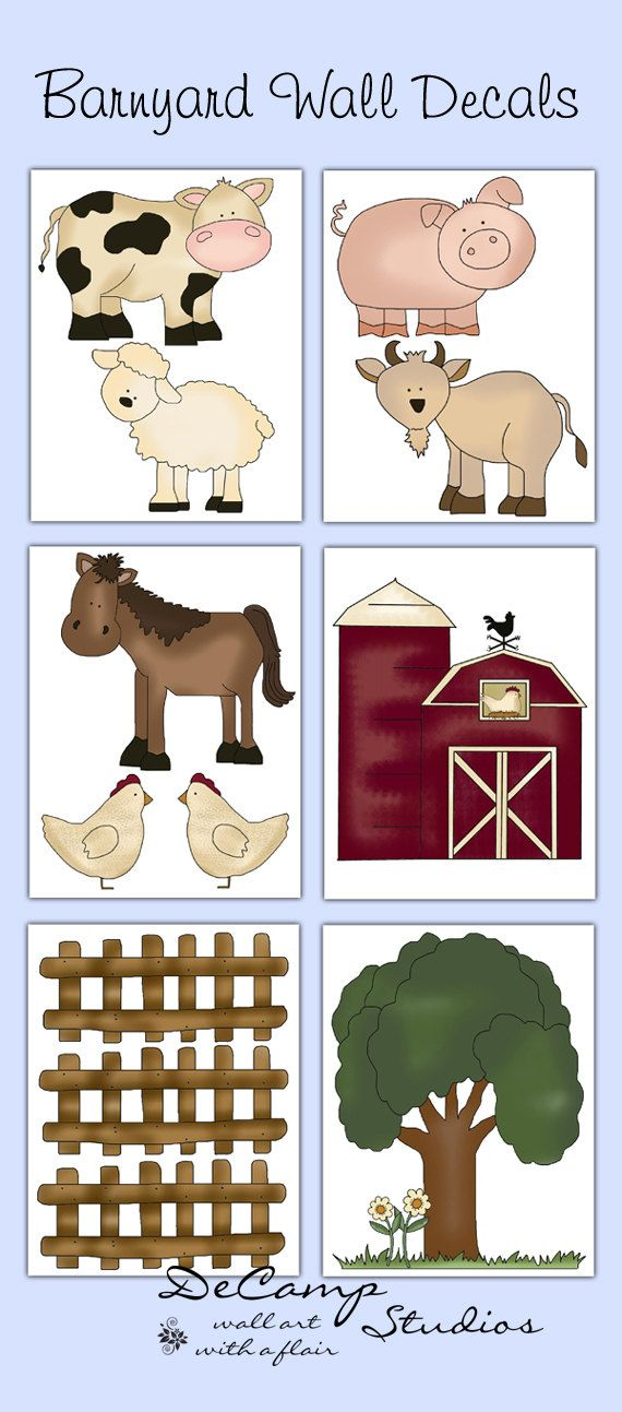 Barnyard Farm Animals wall decals for baby boy or girl nursery or children's bedroom decor. Includes six different animals, cow, sheep, pig, goat, horse, and chickens with a barn, tree, and some fence to create a farm scene #decampstudios