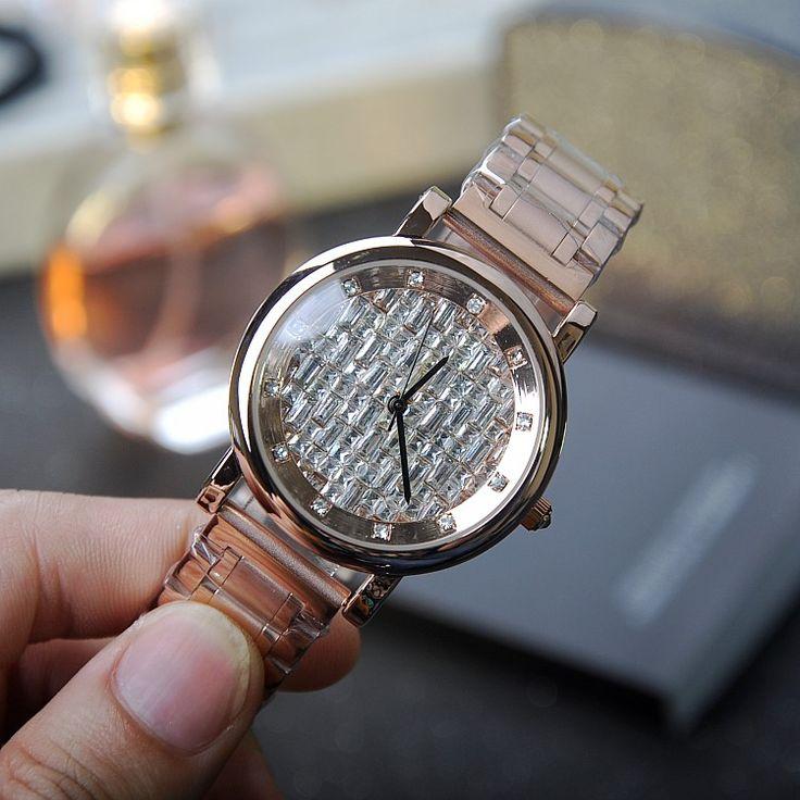 Latest Style Rose Gold Women Watch!Luxury Crystal Women Bracelet Watch Female Mashali Dress Watch Ladies Rhinestone Wristwatches