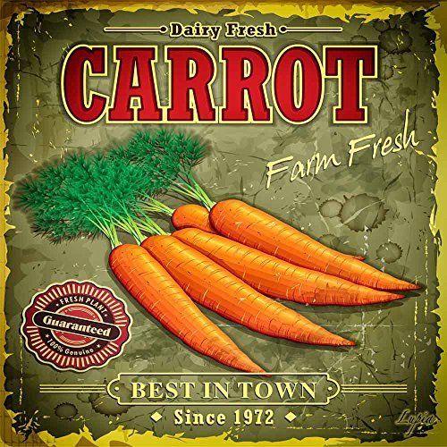 Lupia Food Vintage Quadro Su Tela Carrot, Legno, Multicolore, 40x40x2 cm