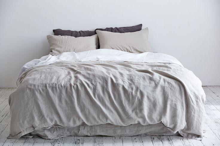 100% Linen Duvet Cover in Dove Grey   IN BED Store