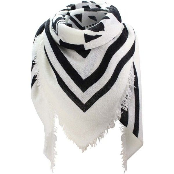 Black & White Aztec Tribal Pattern Oversize Square Scarf Wrap ($30) ❤ liked on Polyvore featuring accessories, scarves, black, lightweight, shawl scarves, lightweight shawl, evening shawl, square blanket scarf and oversized scarves
