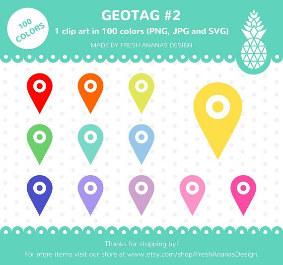 Geotag Clipart Location Tag Planner Clipart Place Icon SVG 100 colors Clip Art Printable Sticker 100 Colors Clip Art: Geotag #2