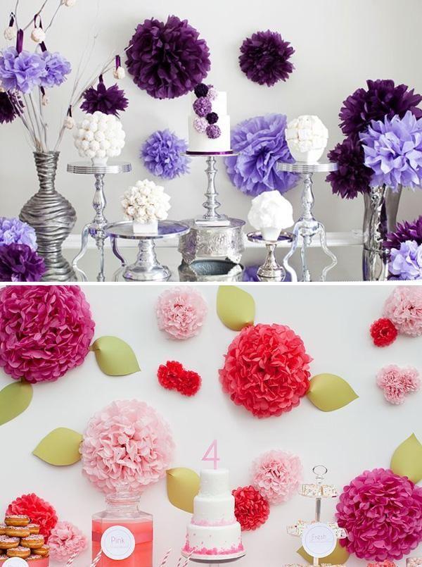 C mo decorar fiestas con pompones de papel ideas para - Decorar mesas para fiestas ...