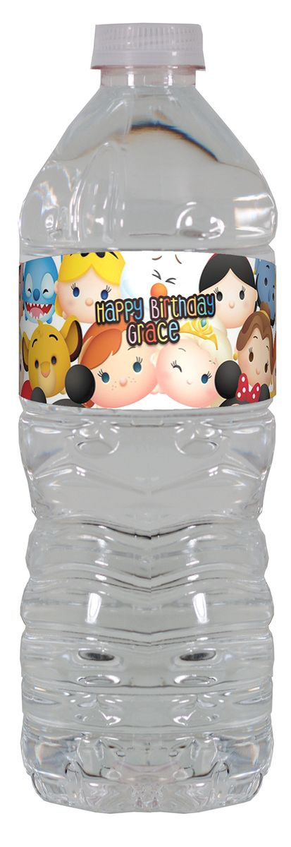Tsum Tsum personalized water bottle labels – worldofpinatas.com