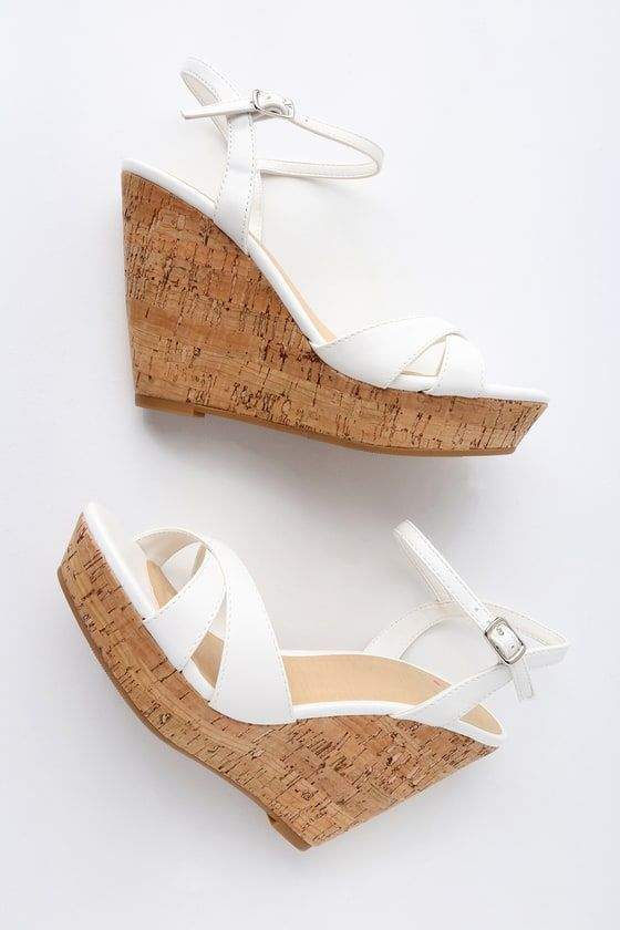 0f9269e59 Lulus | Nixie White Wedge Sandal Heels | Size 10 | Vegan Friendly ...