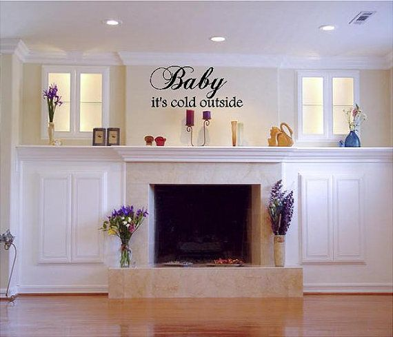 """Baby it's cold outside (Christmas Holiday Vinyl Wall decal)-14""""H x 40""""W- Custom Vinyl Wall Decal lettering Graphic art mural"""