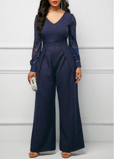 Lace Panel Wide Leg Navy Blue Jumpsuit on sale only US$34.88 now, buy cheap Lace Panel Wide Leg Navy Blue Jumpsuit at Rosewe.com