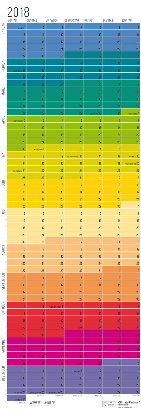 Mit diesem farbenfrohen und zugleich minimalistischen Wandkalender hast Du das ganze Jahr 2018 im Blick! Die Wochen sind übereinander angeordnet, so dass alle Wochentage übereinander in einer Spalte zu sehen sind. So können super auch längere zeiträume einfach abgezählt und geplant werden. Dieser Jahresplaner ist optimal geeignet als WG-Planer, Bürokalender, Urlaubsplaner, Motorradtouren-Kalender u.s.w. Auch ein schönes Geschenk zum Geburtstag oder zu Weihnachten.