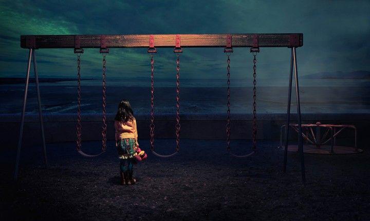 Girl Swings Sea Surf Twilight Toy Sad
