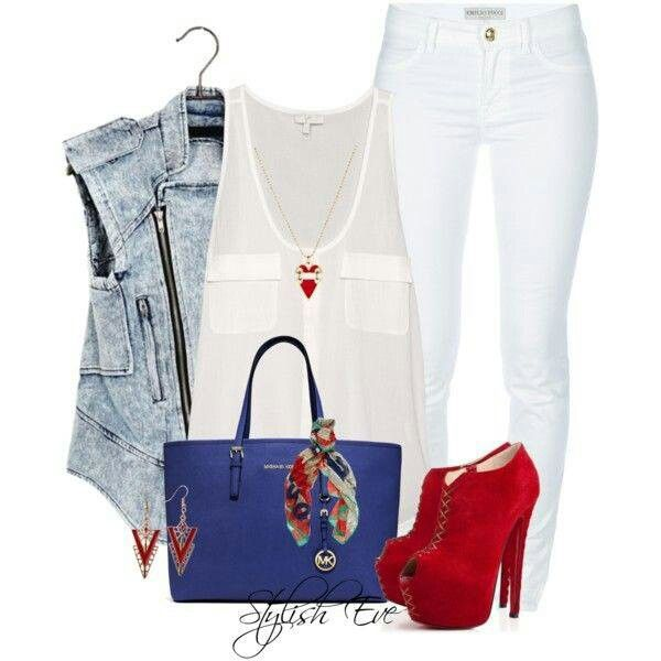 Red, White, Blue, Denim Outfit