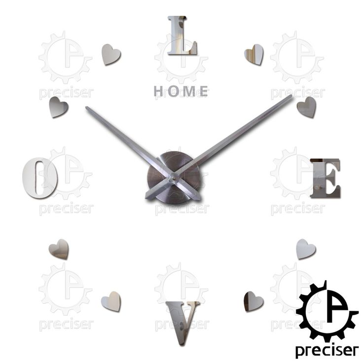 home love letters 2016 3d diy big wall clock self adhensive wall stickers acrylic mirror