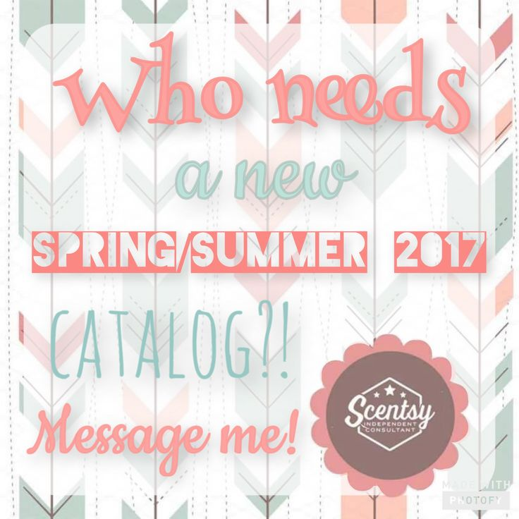 Let me know if you need a Spring/Summer 2017 catalog & samples, I'll be mailing them out this week! www.AshlynBaird.Scentsy.us https://m.facebook.com/perfectscentswithashlyn/