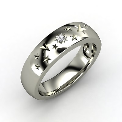 Sterling Silver Ring with White Sapphire | Supernova Band | Gemvara
