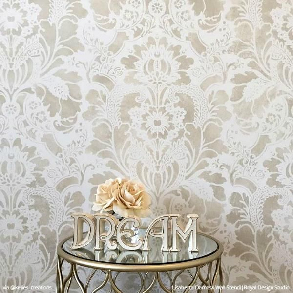 Get the designer look of Italian damask wallpaper! Paint the blossoming flowers of our Lisabetta Damask Wall Stencil for a DIY classic European styled room = ♥  LOVE  I can do this!