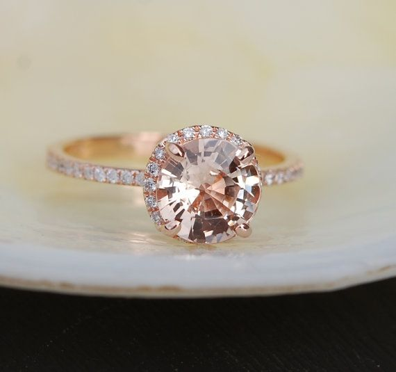 Champagne Engagement ring Peach champagne by EidelPrecious on Etsy