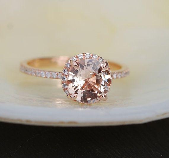 1.73ct round Peach Champagne sapphire diamond by EidelPrecious