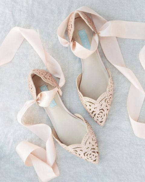 Rose Gold Bridal Flats by Betsey Johnson | Photo by Michelle Boyd Photography