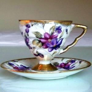 Xícaras de chá japonês e Pires |  Roxo do copo de chá e pires do Royal Sealy Japão por beth
