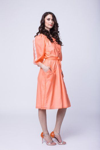 Dress with sleeve applied cotton lace and waist girdle