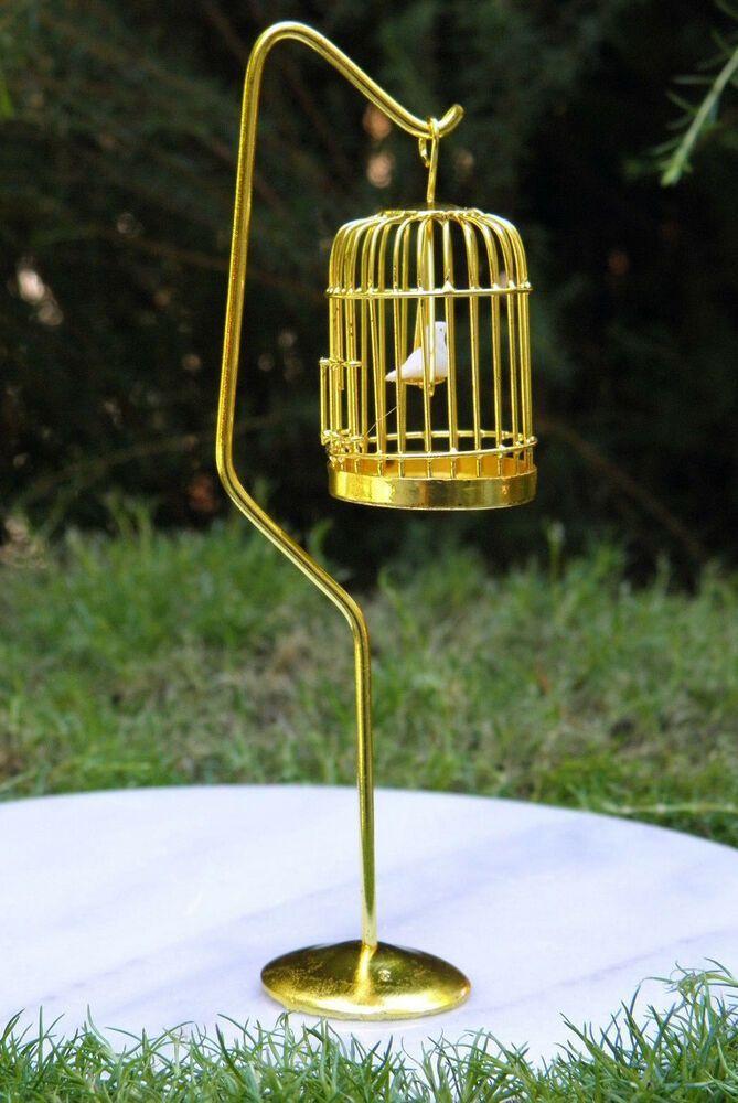 Miniature Dollhouse FAIRY GARDEN Furniture ~ Brass Bird Cage with Stand /& Bird