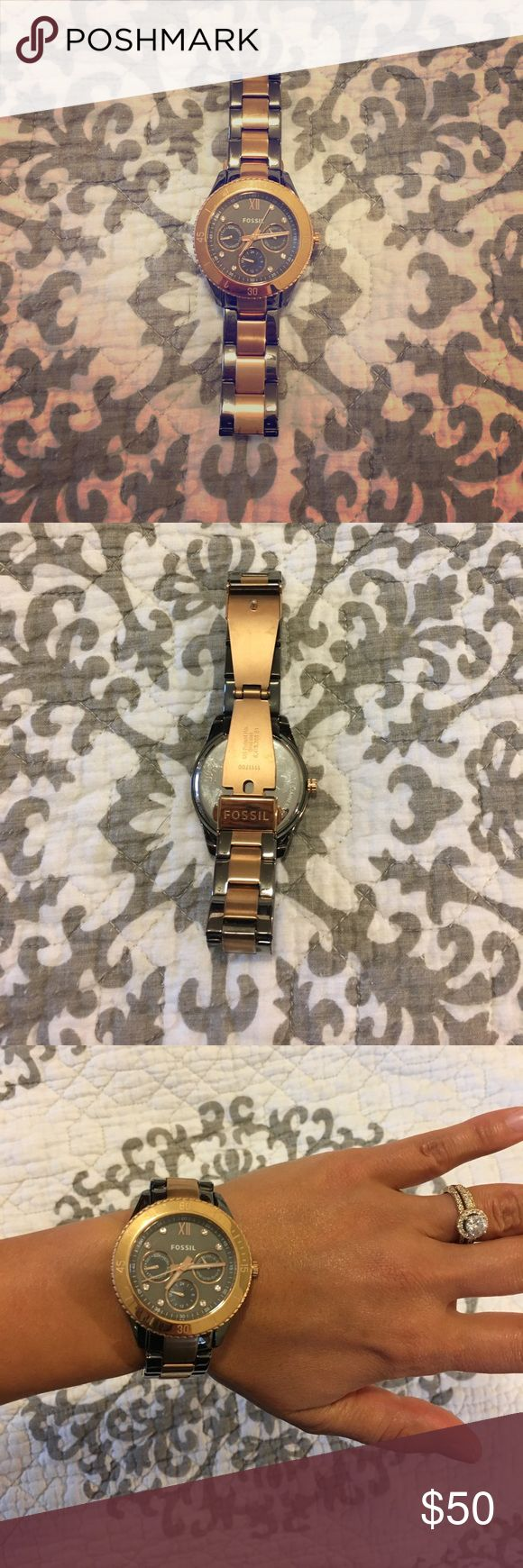 Fossil Boyfriend watch in Rose Gold Fossil boyfriend watch in pewter and rose gold. Mild wear, no scratches to the face. Battery works! Extra links not included. Fossil Accessories Watches