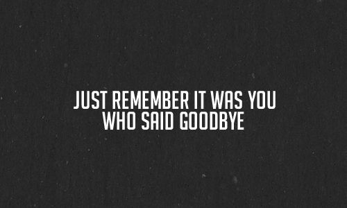 Just Remember It Was You Who Said Goodbye